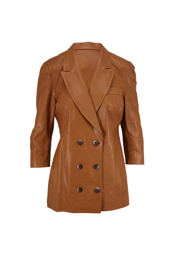 Zeynep Arcay Taba Tan Leather Double-Breasted Jacket