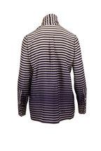 Valentino - Navy Blue Silk Twill Striped Tie Neck Blouse