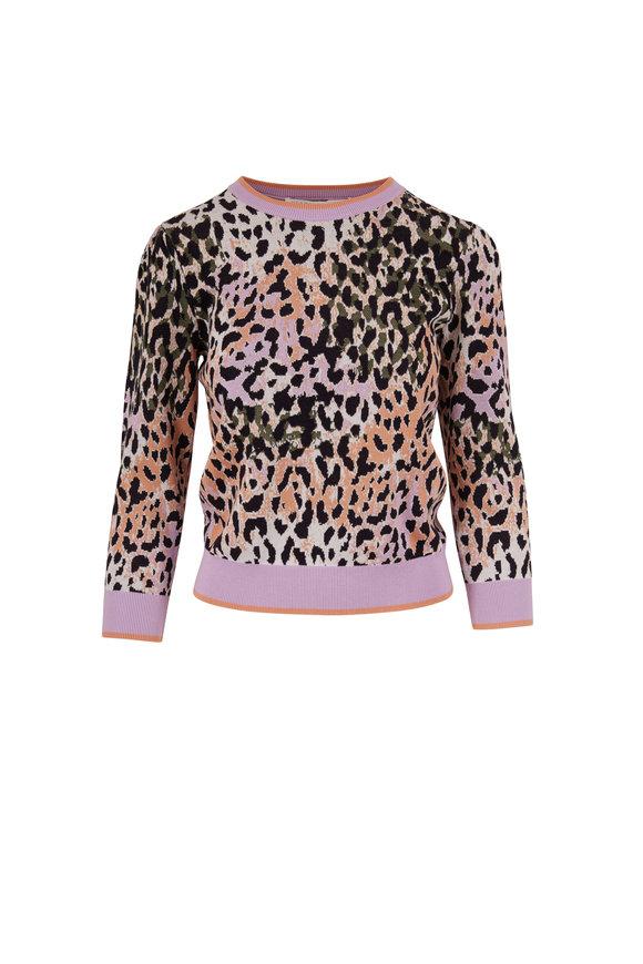 Veronica Beard Suzanna Lavender Leopard Print Sweater