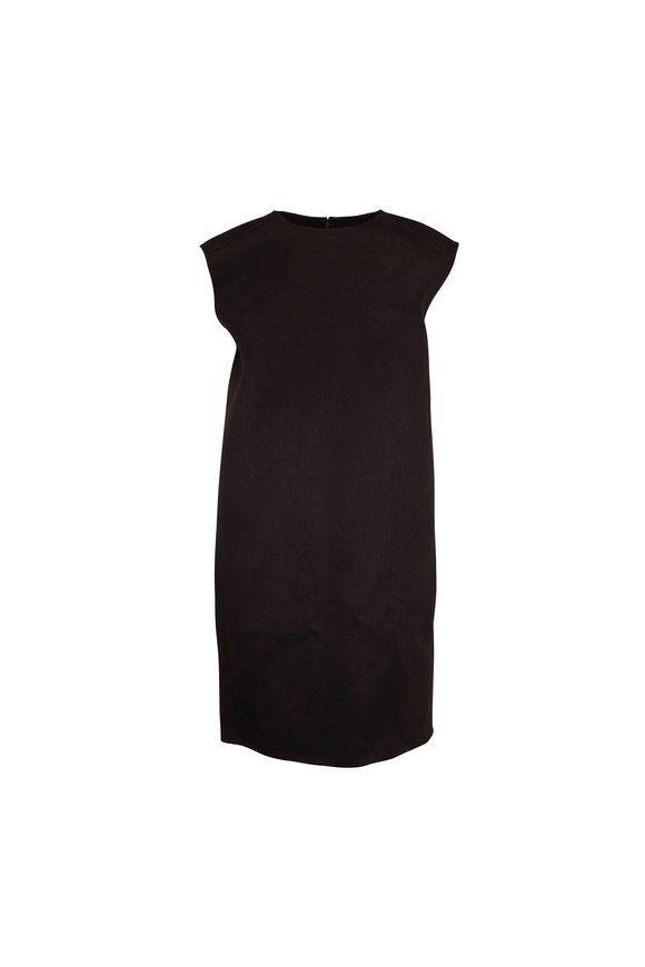 Carolina Herrera Black Linen Sleeveless Shift Dress