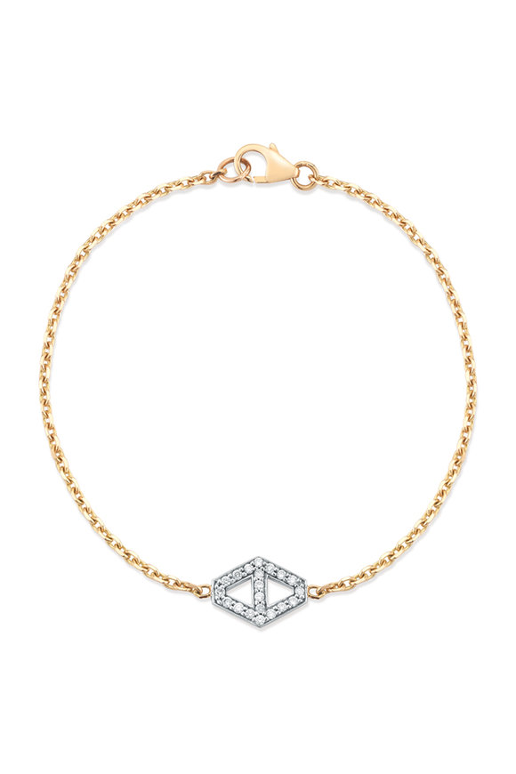 Walters Faith White Gold Small Hexagon Chain Bracelet