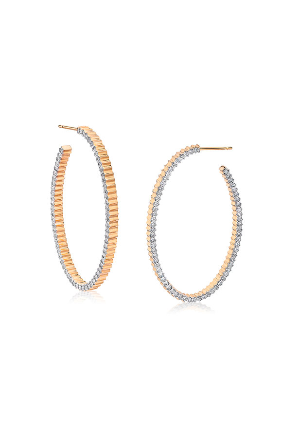 Walters Faith 18K Rose Gold Clive Diamond Hoop Earrings
