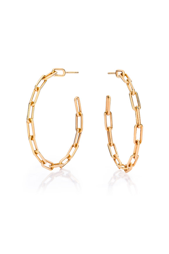 Walters Faith 18K Rose Gold Saxon Chain Link Hoop Earrings
