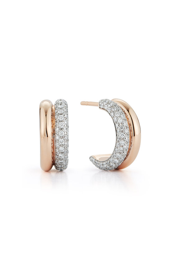 Walters Faith 18K Rose Gold Thoby Diamond Huggie Earrings