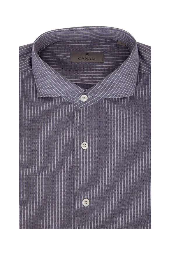 Canali Navy Blue Striped Sport Shirt