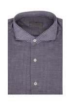 Canali - Navy Blue Striped Sport Shirt