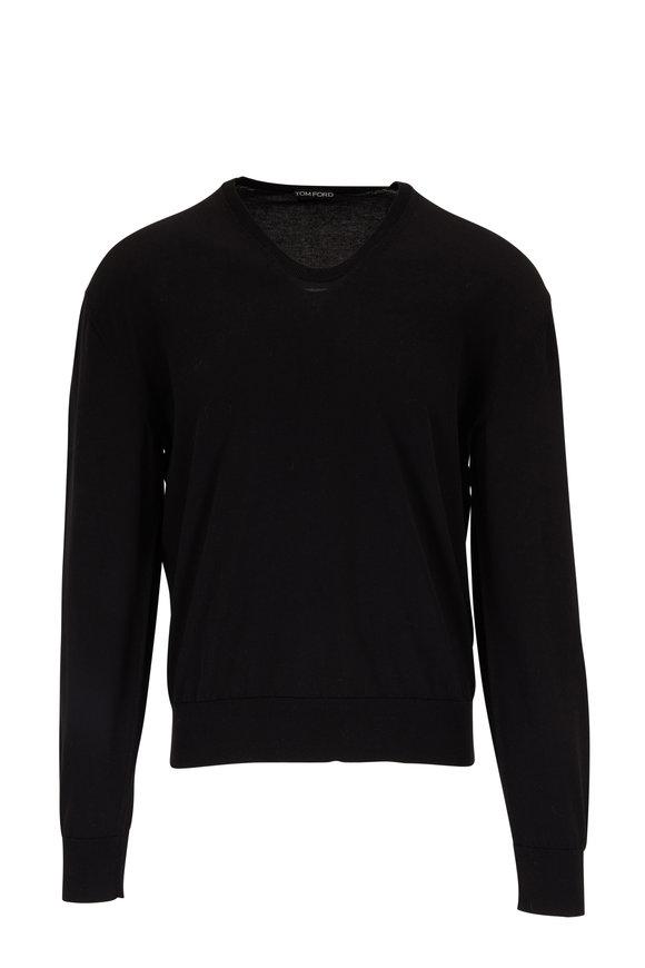 Tom Ford Black Cotton & Silk U-Neck Pullover