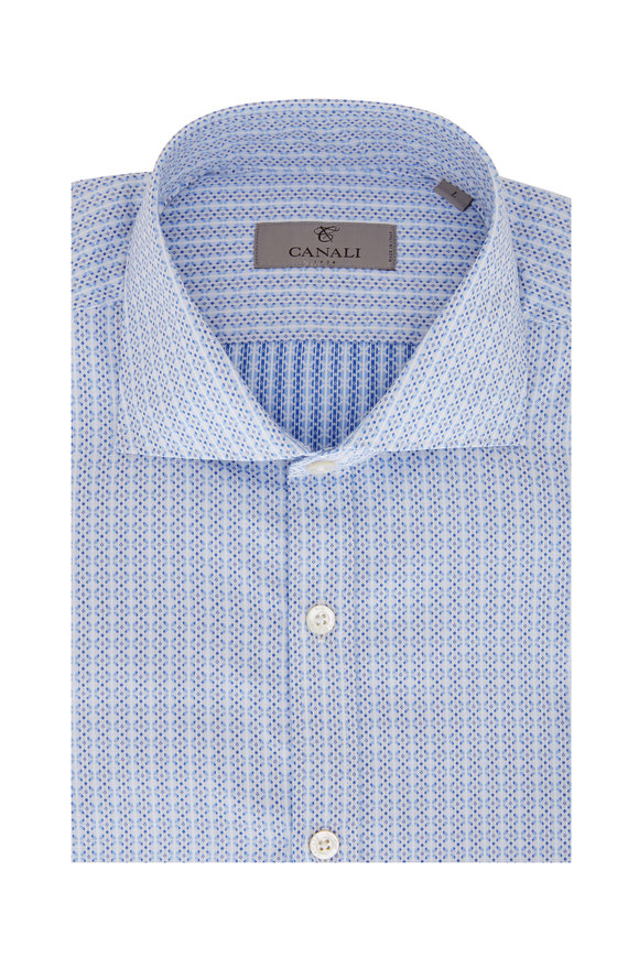 Canali Light Blue Geometric Sport Shirt