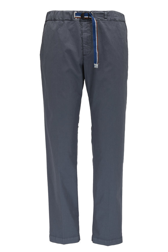 White Sands Gray Stretch Cotton Belted Pant
