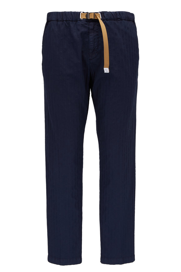 White Sands Navy Tonal Stripe Cotton Belted Pant