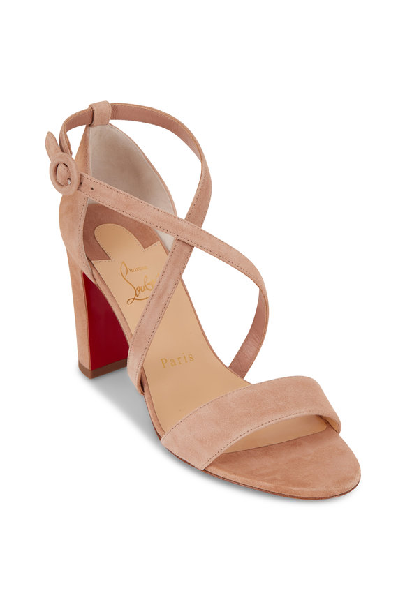 Christian Louboutin Loubi Bee Porcelaine Suede Sandal, 85mm
