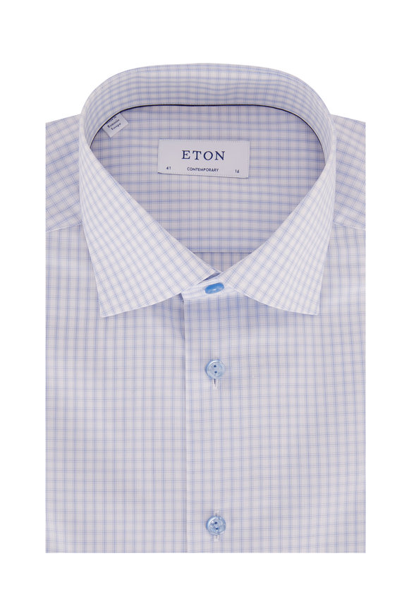 Eton Light Blue Tattersall Contemporary Fit Sport Shirt