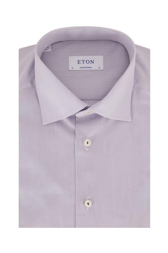 Eton Gray Textured Contemporary Fit Dress Shirt