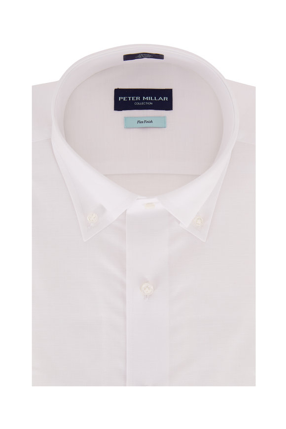 Peter Millar Solid White Chambray Sport Shirt