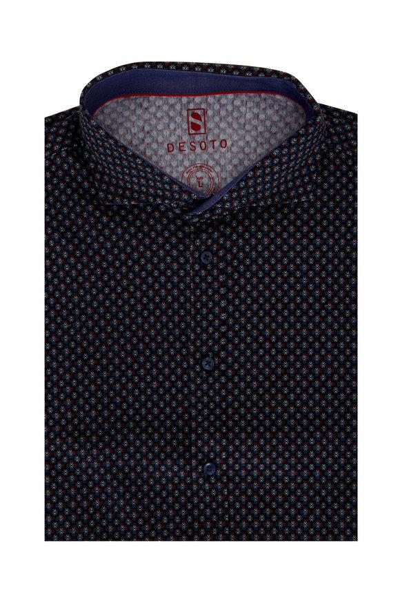 Desoto Naby Blue Geometric Sport Shirt