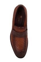 Bruno Magli - Arezzio Cognac Woven Burnished Leather Loafer