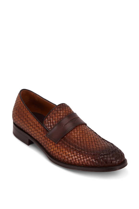 Bruno Magli Arezzio Cognac Woven Burnished Leather Loafer