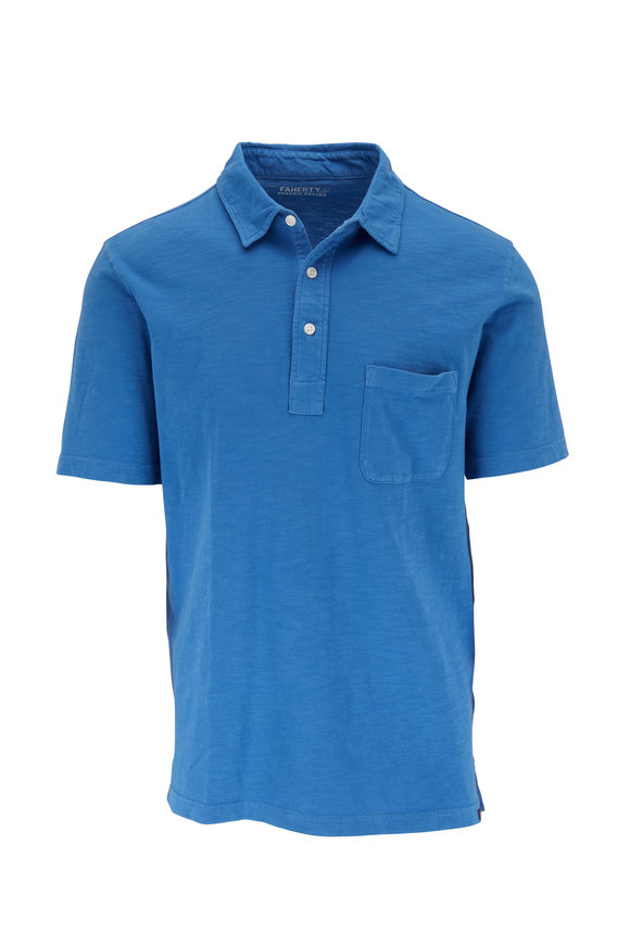 Faherty Brand Sunwashed Cobalt Blue Polo