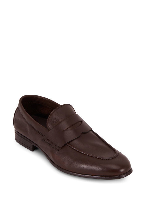 G Brown Cannon Dark Brown Leather Soft Penny Loafer