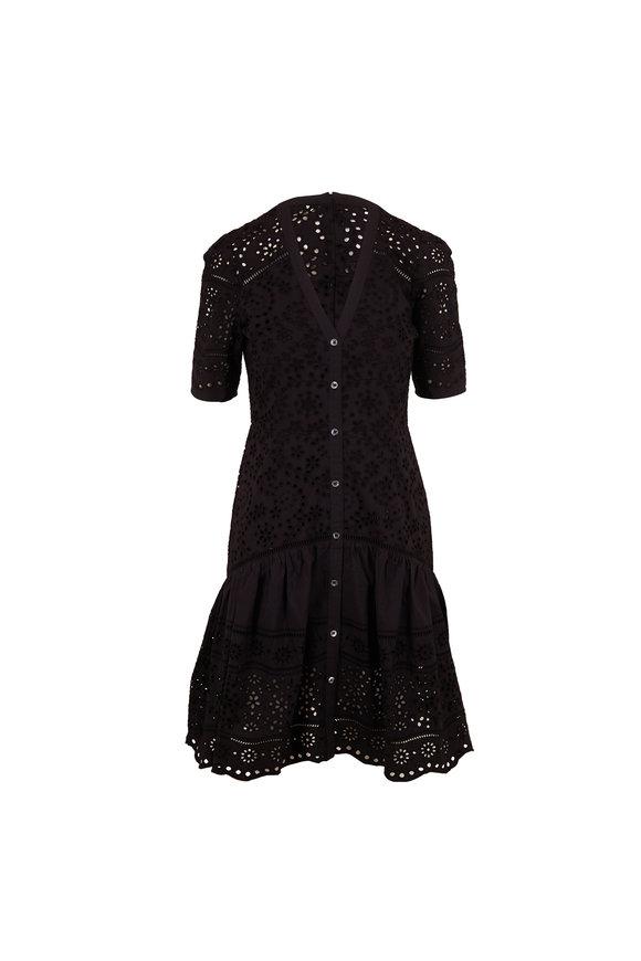 Veronica Beard Eve Black Eyelet Short Sleeve Dress