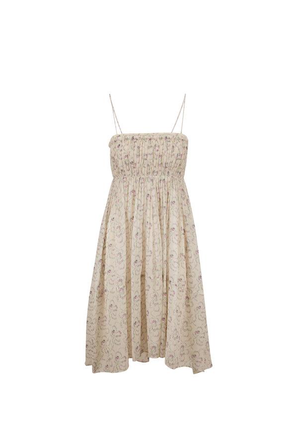 Chloé White & Purple Ikat Flower Print Sleeveless Dress