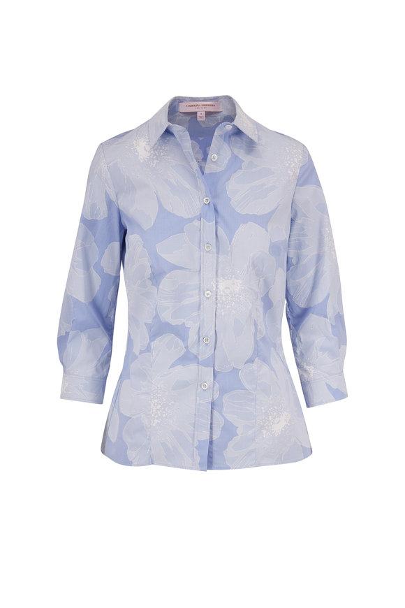 Carolina Herrera Classic Cielo Multi Button Down Shirt