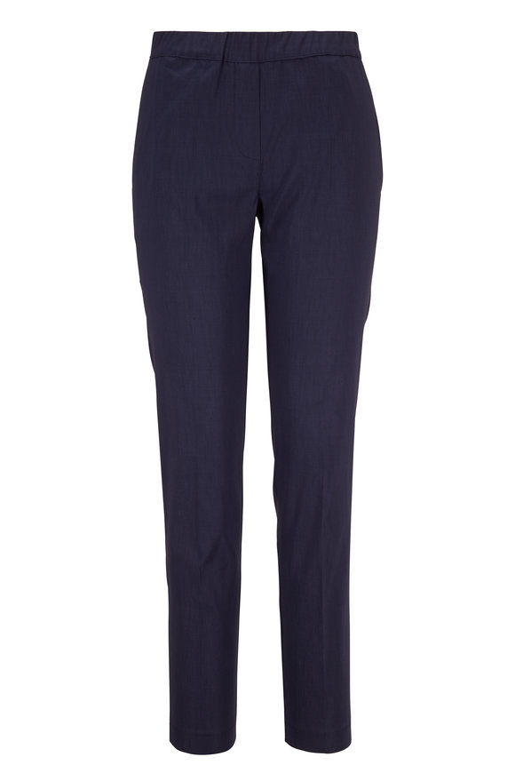D.Exterior Navy Shantung Pull-On Pant
