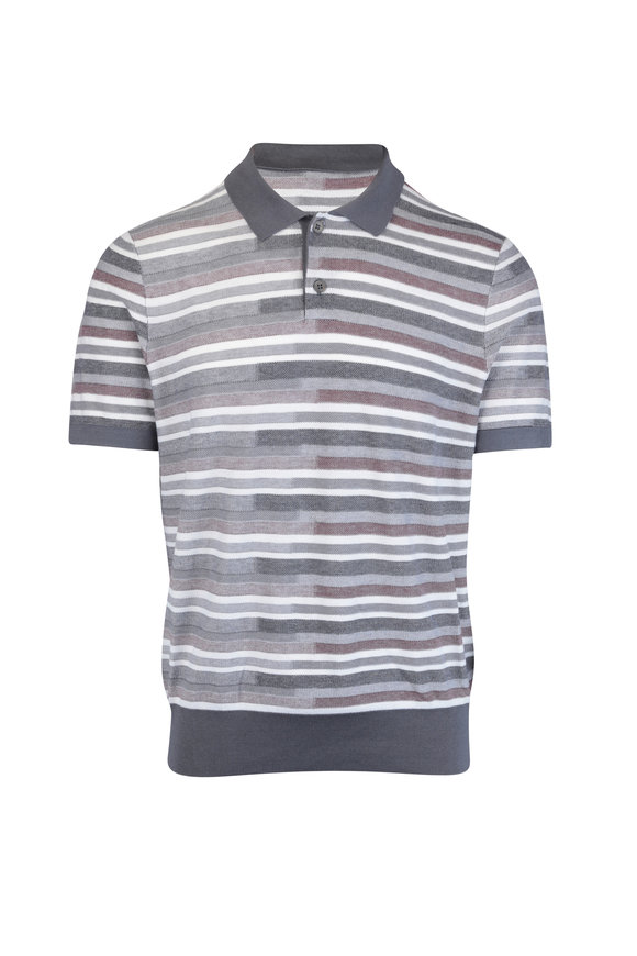 Z Zegna Gray & Rust Stripe Silk Blend Polo