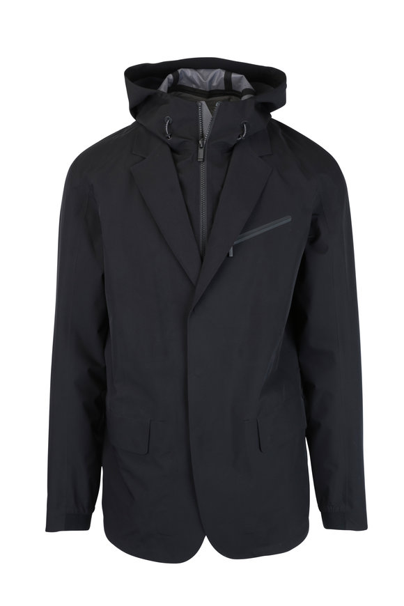 Z Zegna Black Weather Proof Removable Dickey Jacket