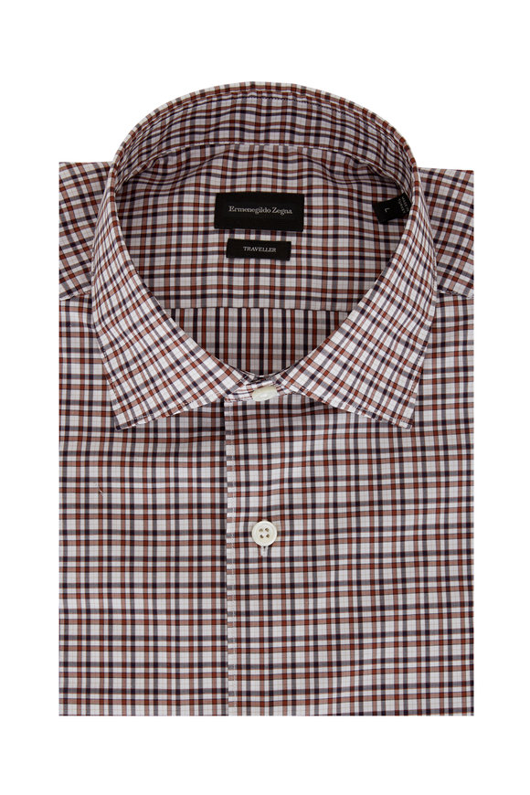 Ermenegildo Zegna Navy Blue & Brown Classic Fit Sport Shirt