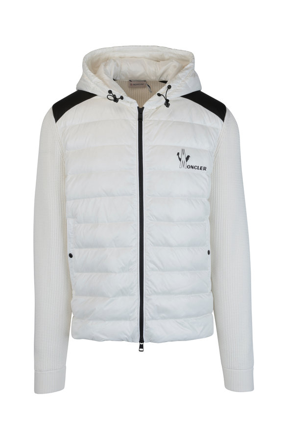 Moncler White Mixed Media Quilted Knit Jacket