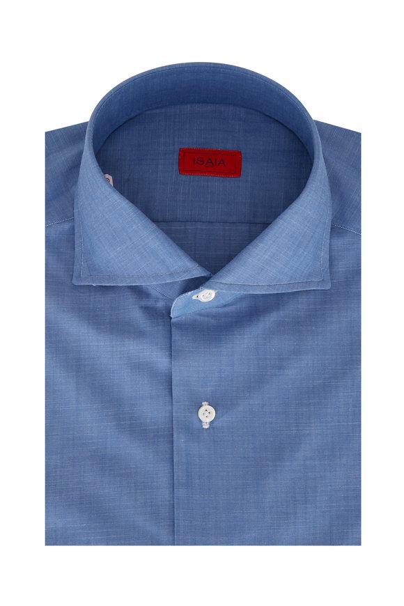 Isaia Light Blue Chambray Dress Shirt