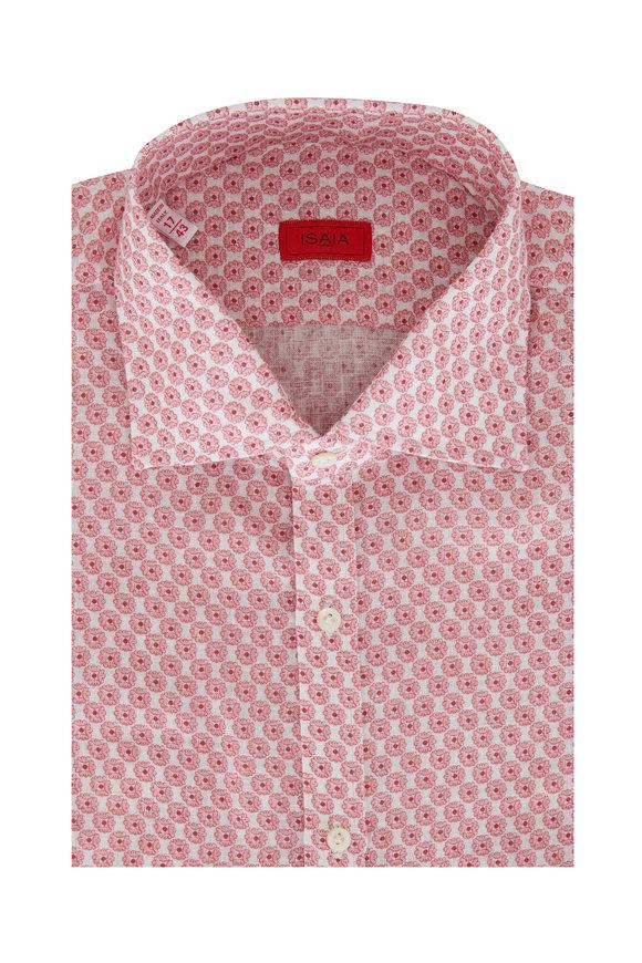 Isaia Pink Linen Medallion Sport Shirt