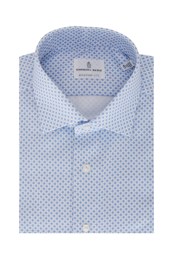 Emanuel Berg Light Blue Dot Modern Fit Sport Shirt