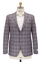 Samuelsohn - Bennett Light Gray & Purple Plaid Wool Sportcoat