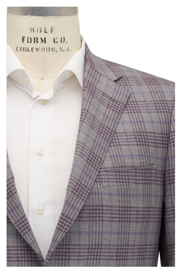 Samuelsohn Bennett Light Gray & Purple Plaid Wool Sportcoat
