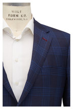 Samuelsohn - Baylor Navy Blue Wool & Silk Plaid Sportcoat