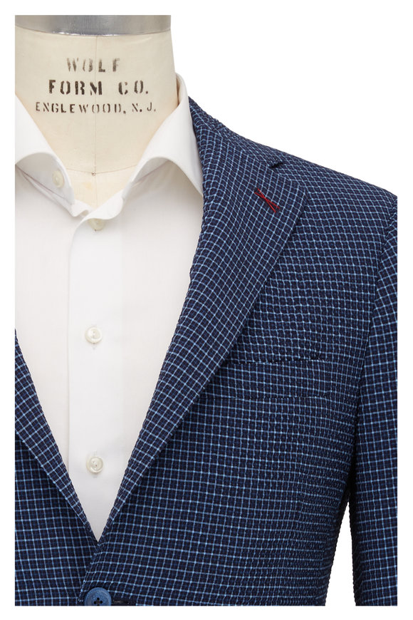 Samuelsohn Navy Stretch Wool Mini Check Seersucker Sportcoat
