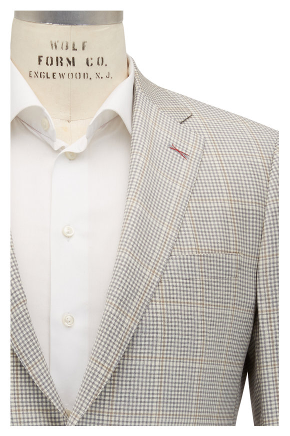 Samuelsohn Bennett Cream & Gray Windowpane Wool Sportcoat