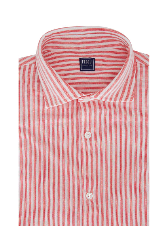 Fedeli Red Striped Piquè Sport Shirt