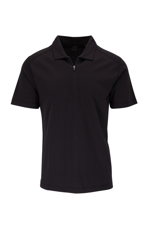 Raffi  Solid Black Quarter-Zip Polo