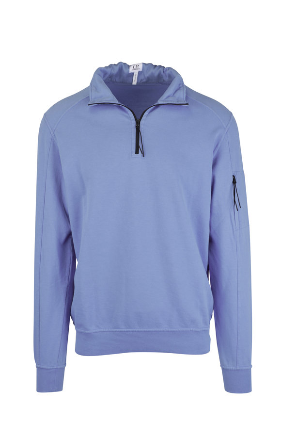 CP Company Riviera Light Blue Quarter-Zip Sweater