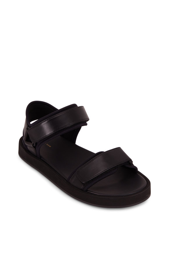 The Row Black Hook & Loop Velcro Nappa Sandal