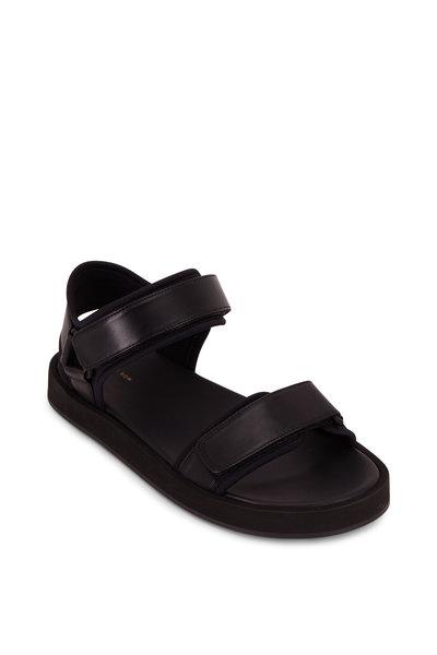 The Row - Black Hook & Loop Velcro Nappa Sandal