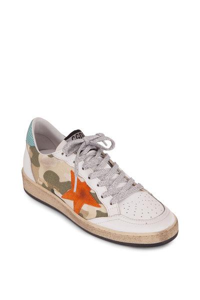 Golden Goose - Ball Star Camo Canvas & Orange Star Sneaker