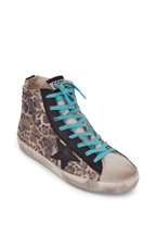 Golden Goose - Francy Leopard Print Black Star High Top Sneaker