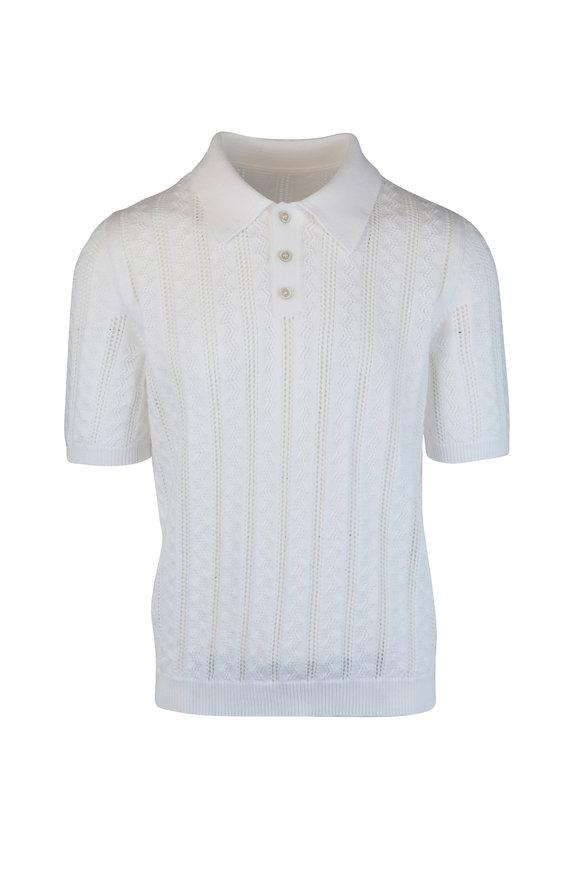 Maison Margiela White Open Knit Polo