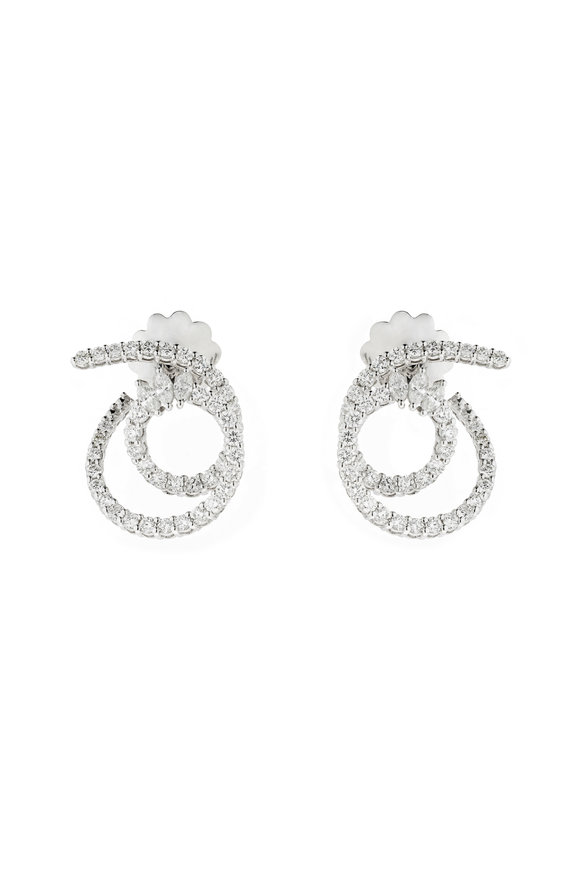 Yeprem 18K White Gold Diamond Circle Earrings