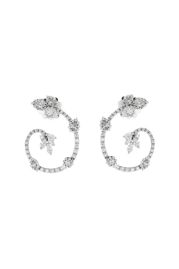 Yeprem 18K White Gold Diamond Hoop Earrings