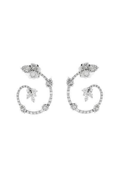 Yeprem - 18K White Gold Diamond Hoop Earrings